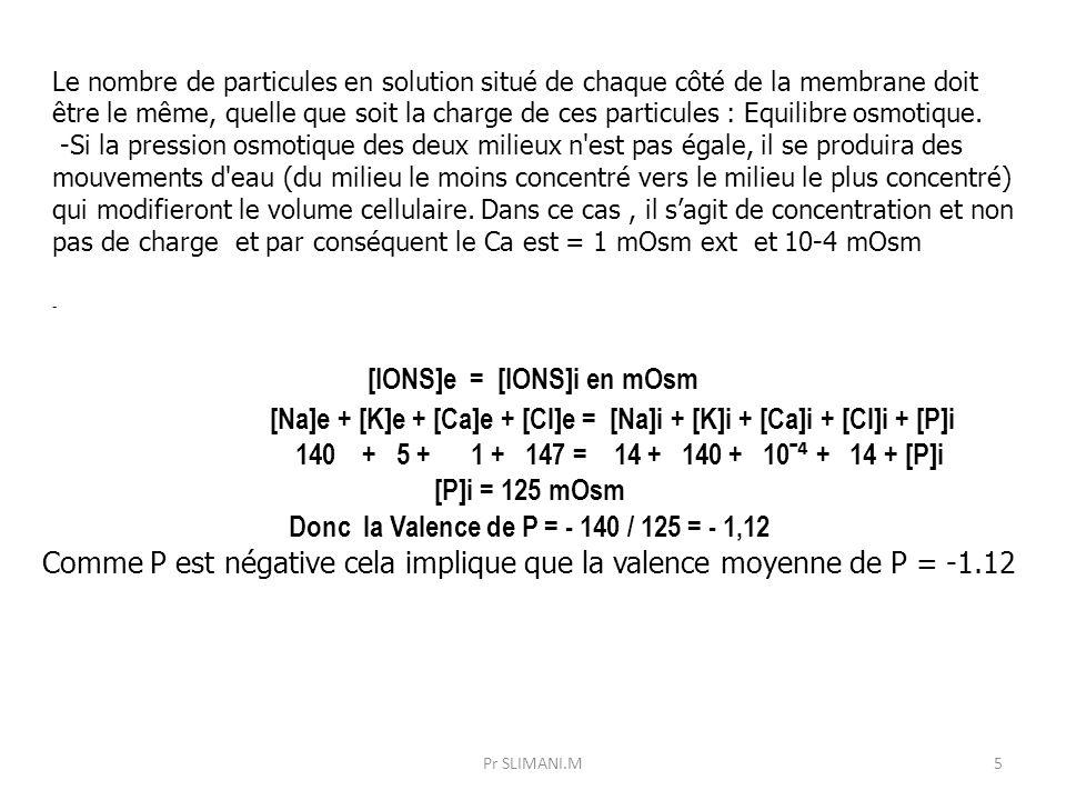 [IONS]e = [IONS]i en mOsm Donc la Valence de P = - 140 / 125 = - 1,12